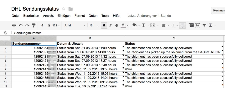 DHL Sendungsverfolgung mit Google Spreadsheets