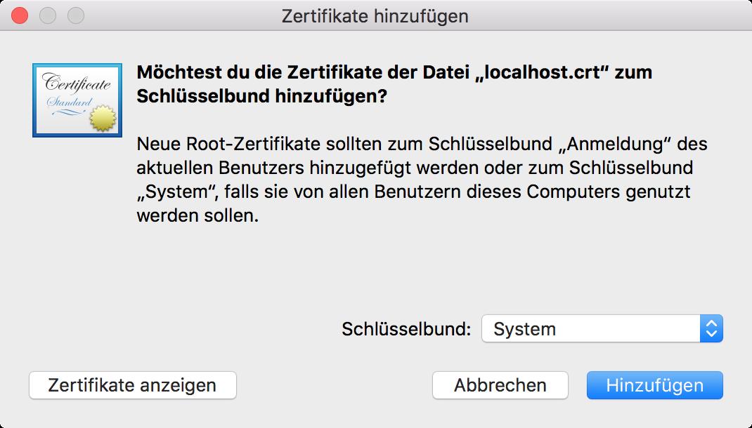 Selbst signiertes SSL Zertifikat auf macOS Sierra generieren, das ...